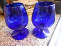 2 BRISTOL BLUE SIGNED BRANDY GLASSES