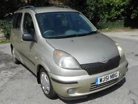 TOYOTA YARIS VERSO 1.3 GS, 2001, 204'000 MILES, 2 OWNERS, FSH, LONG MOT, ENGINE HAS FLAT SPOT HENCE