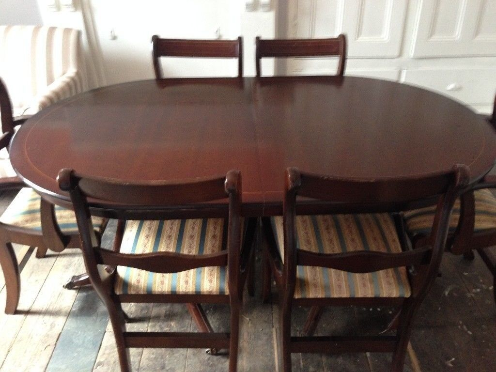 Mahogany dining table & 6 chairs for sale