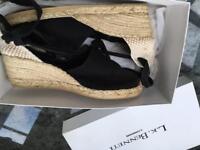 LK Bennett black wedge espadrilles Size 39.