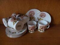 Vintage JOHN RUSSELL Rosalee Bone China 18 piece tea set.