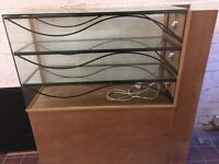 Glass / ironwork retail shop display cabinet with lights
