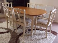 SHABBY CHIC TABLE & 4 CHAIRS + 2 CARVERS PAINTED IN ANNIE SLOAN OLD OCHRE (cream)