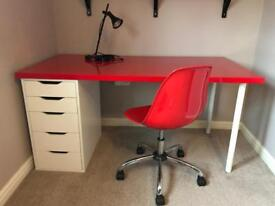 IKEA office/study desk with chair/lamp- bargain £50!