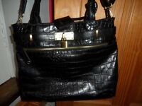 Black Crockodile look handbag