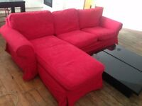 EKTORP 3 Seat Sofa & Chaise Lounge from IKEA (RRP £525) - Low Price to Sell this Weekend!