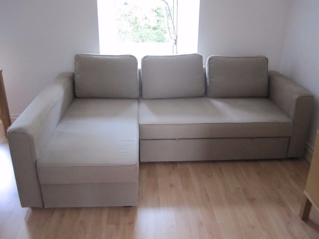 Ikea sofa bed with chaise longue and storage beige in for Ikea sofa cama chaise longue