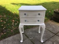 Hand painted bedside cabinet / side table with two drawers & queen anne legs
