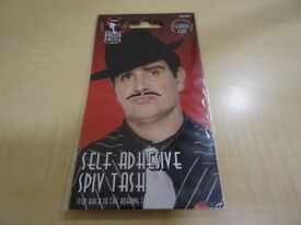 MOUSTACHE FOR FANCY DRESS - BLACK SPIV TASH - NEW IN SEALED PACKAGING