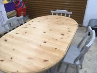 Pine Oval Dining Table-Drop Leaf & 4 Chairs-Pale French Grey