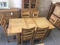 1.4m extending to 1.8m oak dining table