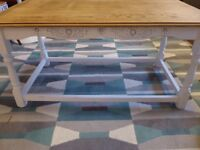Shabby chic coffee table, solid wood with painted wooden legs in Annie Sloane chalk paint