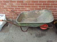 Large metal wheel barrow