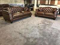 BRAND NEW FROM FABB SOFAS PENELOPE CHESTERFIELD 3 and 2 SEATER SOFA CHOCOLATE BROWN REAL LEATHER 5