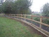 Horse Menage / Arena Fencing Erected, Horse / Paddock Fencing, Post & Rail, Half Round, Norfolk Area