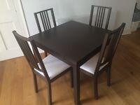 Dining table BJURSTA + 4 Dinning chairs BORJE