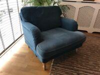 IKEA Stocksund Armchair / Love Seat / Snuggler Sofa. Blue.