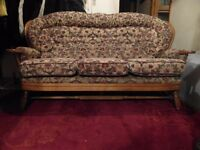 Lovely 3 seater cottage sofa in wooden frame