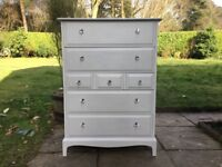 Hand Painted Stag Tallboy Chest of Drawers in Grey