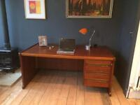 Large retro vintage walnut partners executive desk