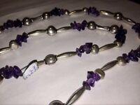 large Silver & Amythest Necklace