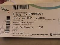 A Day to Remember Ticket Birmingham 25th Jan Seated