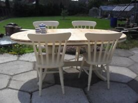 Shabby Chic Solid Pine Ducal Extending Table and 4 Chairs In Farrow & Ball Cream No 67