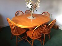Oval pine dining table 6 chairs