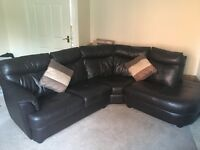 Brown,quality leather, DFS corner sofa .