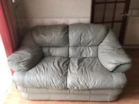 Leather sofa, 2 seater and 2 chairs