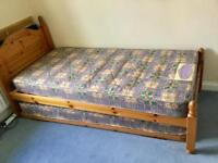 "Pine 3' Guest bed with 2'6"" bed under"