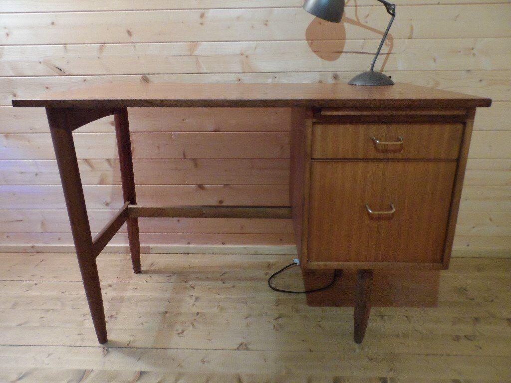 Restored vintage 1960s morris of glasgow teak industrial office desk retro