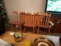Pine drop leaf gate leg table an 5 chairs