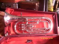 TENOR HORN a SUPERB INSTRUMENT in SILVER PLATE In MINT CONDITION in GOOD STRONG CASE .