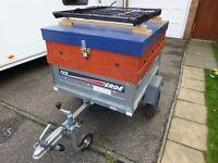 ERDE 122 Camping Trailer with Spare wheel, Waterproof Vinyl Cover and Jockey wheel