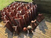 Reclaimed Victorian terracotta roll top ridge capped roof tiles/ball roof finials ridge tiles