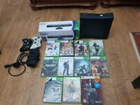 Xbox 360 with Kinect and 11 games