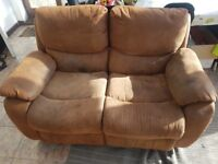 Three piece recliner suede sofa set with armchair