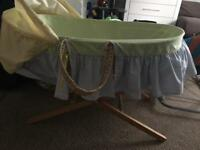 East Coast Moses Basket & stand + 114 Pampers Nappies