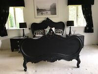 Black French Renaissance Style Bed