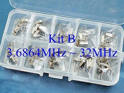 50 Kit B Quartz 10 Values 3.6864mhz 32mhz Crystal Resonator Hc-49us Yxc