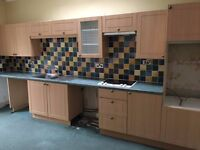 Kitchen cupboards with maple effect doors for sale