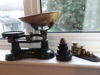Frederick Hill Cast Metal Green Kitchen Scales Brass Bowl + Weights