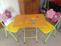 Folding child's kids table and chairs