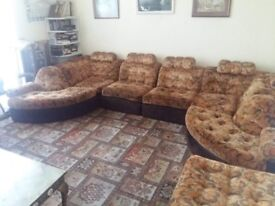 Vintage 1970's Sofa set in amazing condition, foot rest/coffee table included