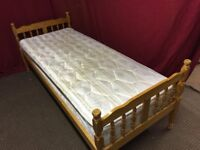 SOLID PINE SINGLE BED (2,6FT) WITH MATTRESS,CAN DELIVER