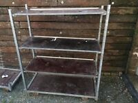 heavy duty garden centre style shelves with wheels