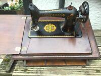 VINTAGE/ANTIQUE SINGER sewing machine in unit. Restoration or repair ?? Untested.