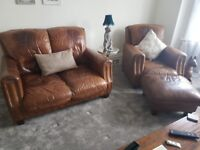 Leather Two Seater, One Seater & Footstool