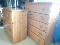 Solid Pine Chest of Drawers -pair